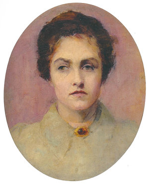 Cristina Asquith Baker, Self Portrait c1890, oil on canvas, 45 x 36 cm (oval), Cruthers Collection of Women's Art, The University of Western Australia