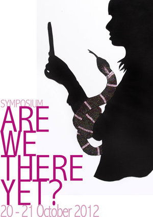 Symposium Poster: Are We There Yet?, The University of Western Australia, Perth, 20-21 October 2012, commissioned self portrait by Sangeeta Sandrasegar