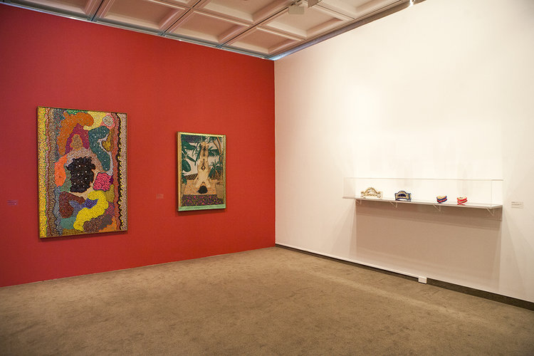 installation view: Glitter: Pat Larter vs Lola Ryan, curated by Gemma Weston, Lady Sheila Cruthers Gallery, Cruthers Collection of Women's Art, Lawrence Wilson Art Gallery, The University of Western Australia, Perth, 26 July - 27 September 2014