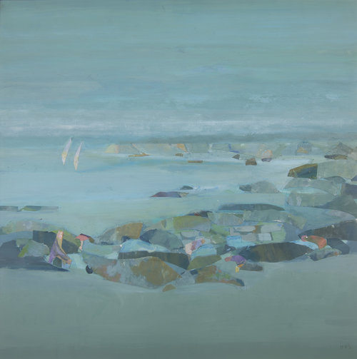 Helen Grey-Smith, Rock Pool, 1995, acrylic and collage, 45 x 42 cm. Private collection. Exhibited at the Old School House Gallery, Pemberton, 3 September – 3 October 1995, 'Forest and Sea' exhibition. Photograph by Steven Gersbach. Courtesy Grey-Smith Estate.