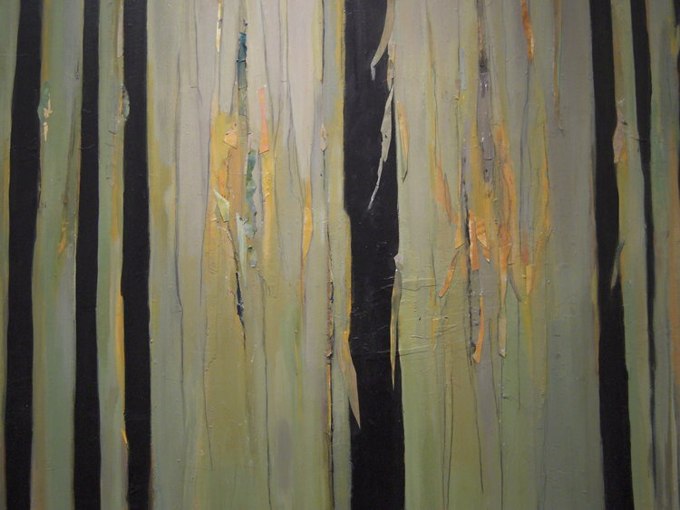 Helen Grey-Smith, Autumn Tree Trunks, 1992, acrylic and collage, 130 x 160 cm. Collection of Grey-Smith Estate. Photograph by David Porter. Courtesy Grey-Smith Estate.