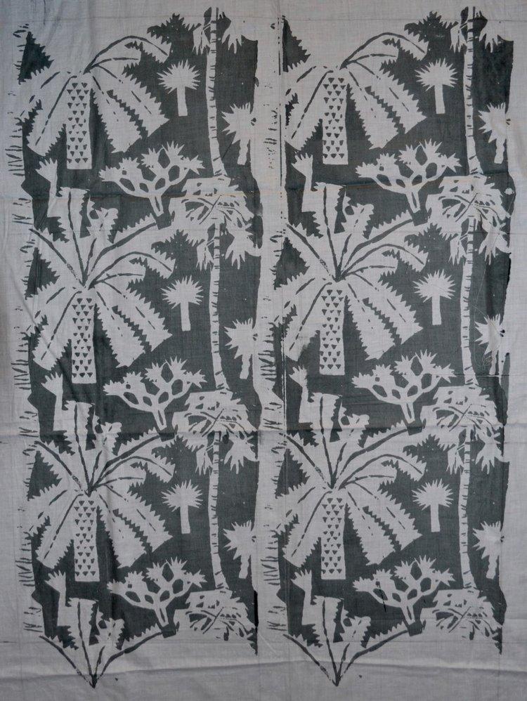 Helen Grey-Smith, Palm Trees, 1960s, screen-print on cotton, design 25 x 20 cm. Collection of Grey-Smith Estate. Photograph by David Porter. Courtesy Grey-Smith Estate.