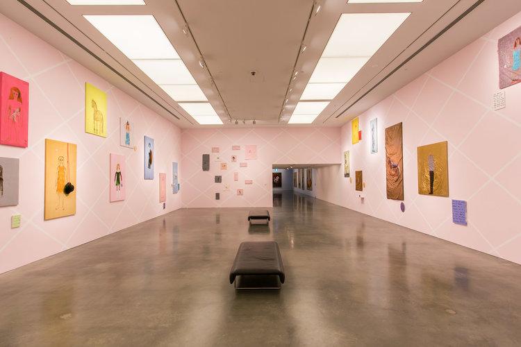 Jenny Watson, The Fabric of Fantasy, installation photo of the 'Jewel box' space. Photograph by Anna Kuchera