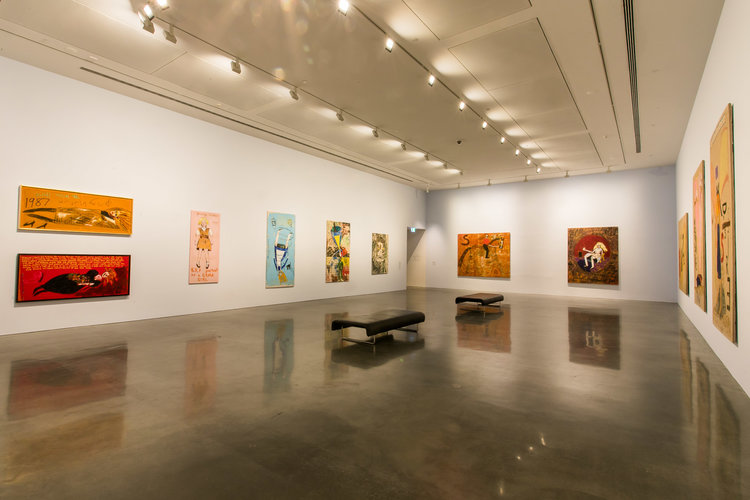 Installation view with: Eye of the Storm 1984 oil, synthetic polymer paint and coins on canvas Ross Bonthorne Collection. Image by Anna Kuchera courtesy of the Museum of Contemporary Art Australia