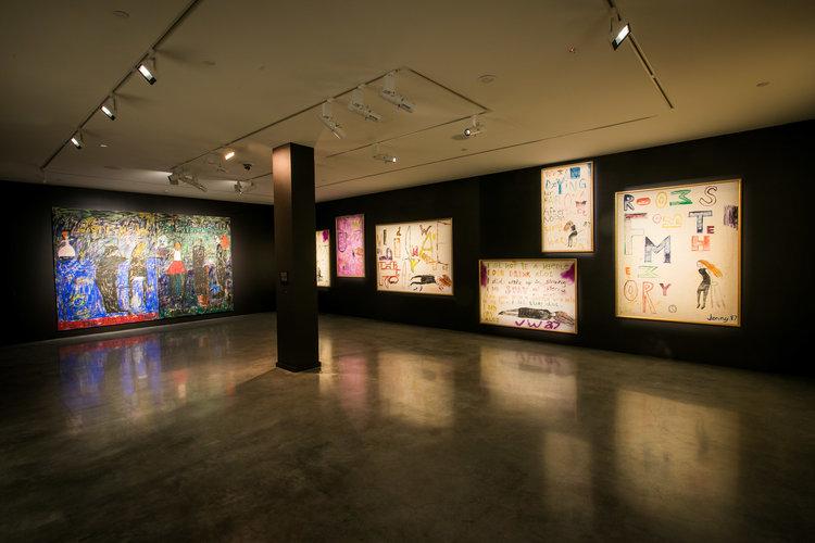 "Jenny Watson, The Fantasy of Fabric installation of the ""Music scene"" space. Photograph by Anna Kuchera"