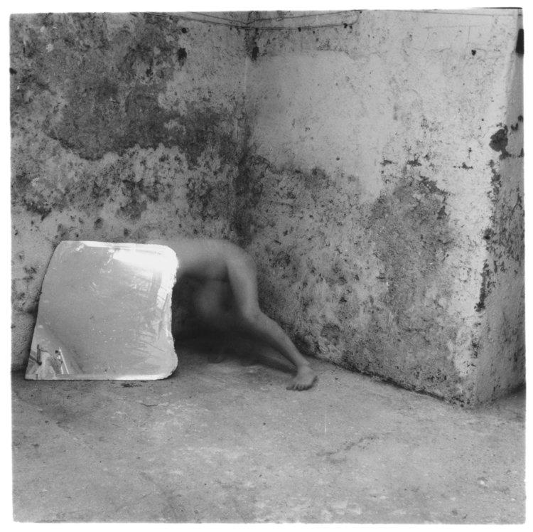 Francesca Woodman, Self-deceit #5, Rome, Italy 1978, Gelatin silver estate print, 20.3 x 25.4 cm, © Charles Woodman, Courtesy Charles Woodman, and Victoria Miro, London/Venice