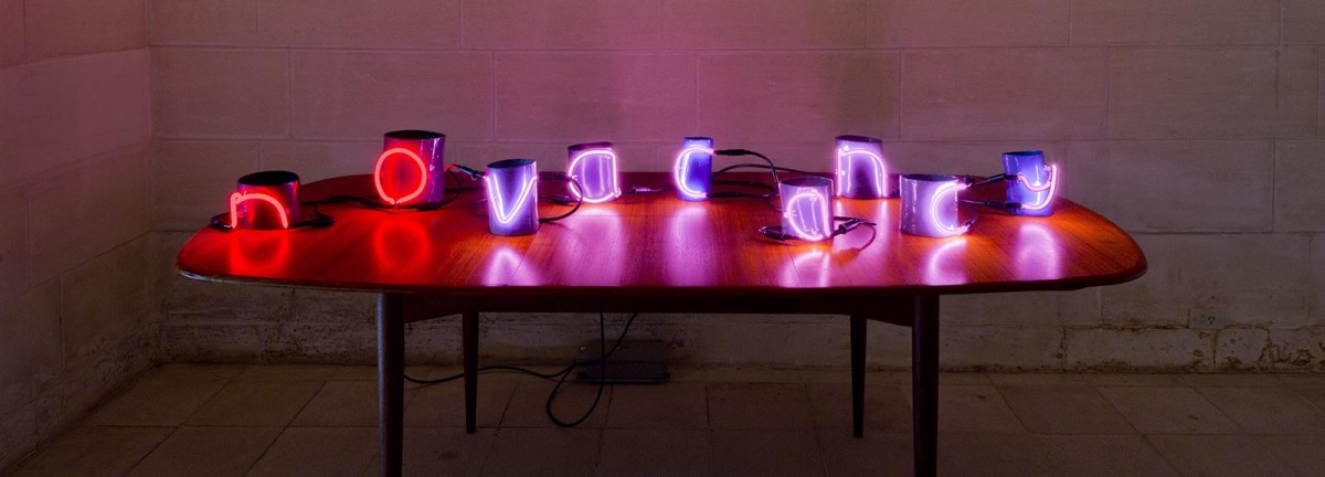 Michelle Nikou, No vacancy 2011, powder-coated ceramic, neon, Parker table, electrical components, dimensions variable, Cruthers Collection of Women's Art, The University of Western Australia, Perth, Courtesy the artist, photo Christian Capurro